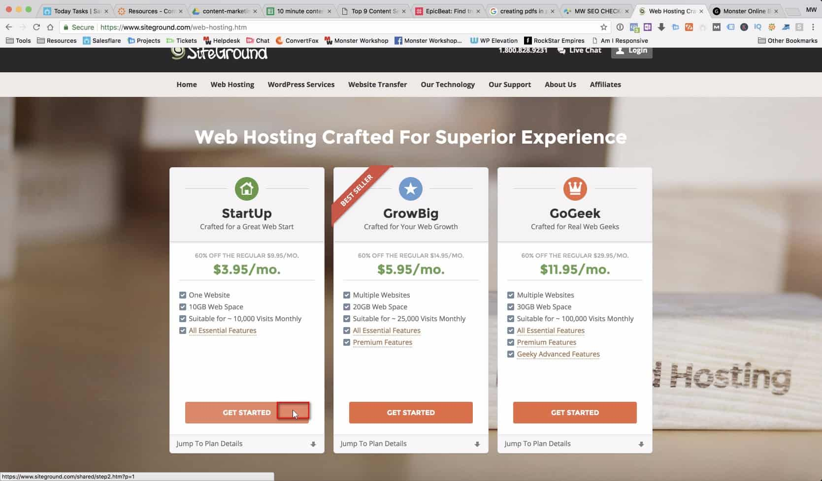 Any of the three hosting packages available will be ideal for a WordPress install