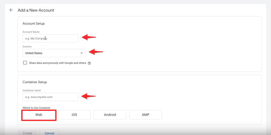 Add a New Google Tag Manager Account